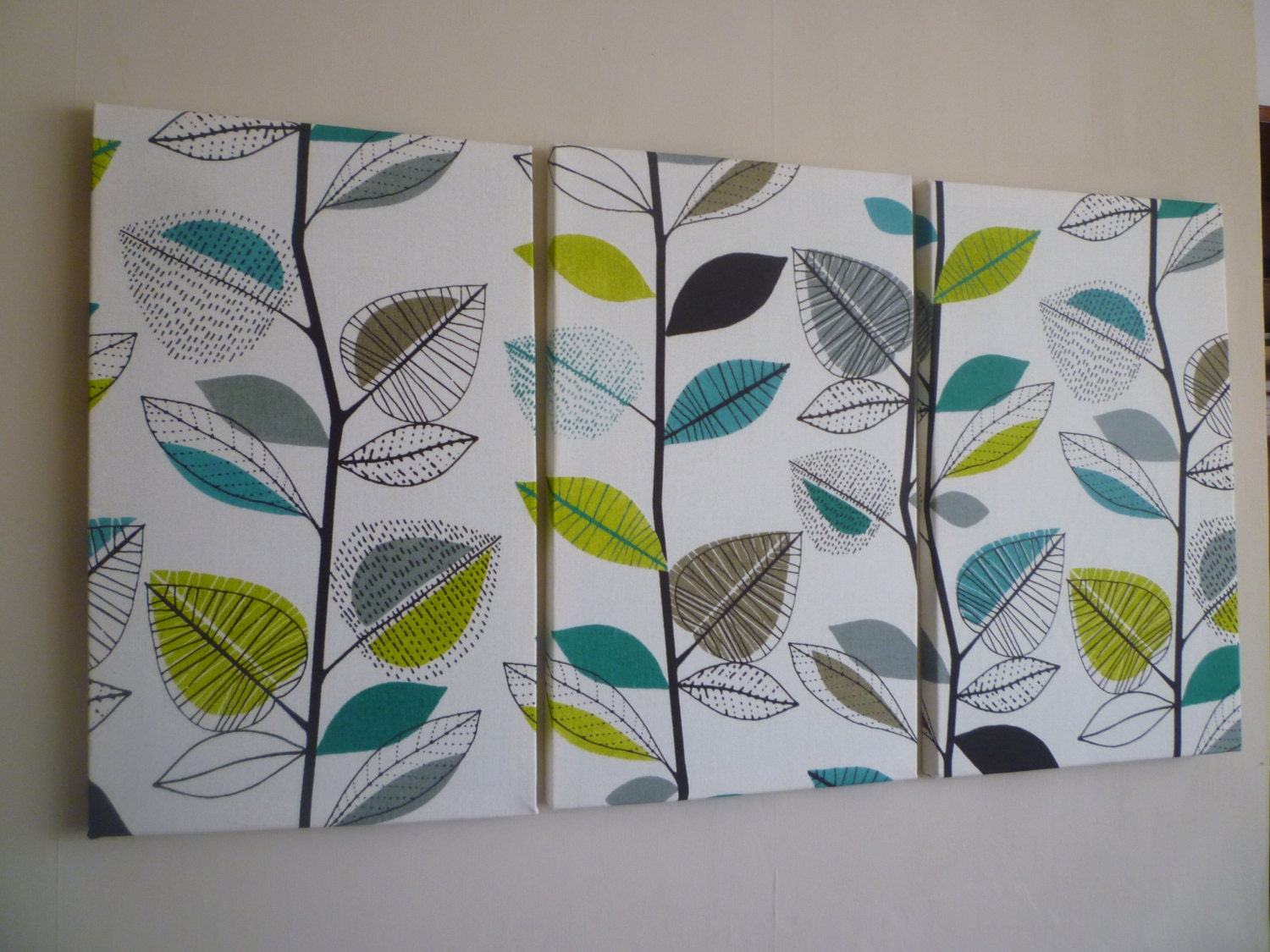 Wall Art Triptych 3 Piece Big Fabric Home Decor Teal Lime