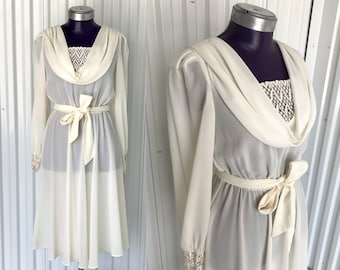 Amazing VINTAGE 1970s White Sheer Cover-Up or Sun Dress — M