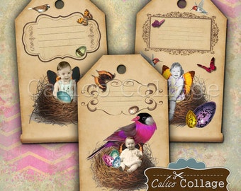Baby Fairy Tags Digital Collage Sheets Digital Images for Earring Cards, Jewelry Cards, Junk Journals, Scrapbooking, Hang Tags, Digital Tags