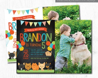 Puppy Invitation for boys with photo, Pet adoption party, Puppy Birthday Party, Puppy Adoption, Digital Invitation, 2 Options