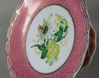 Old Paris Porcelain Pink Plate Compote Cake Stand