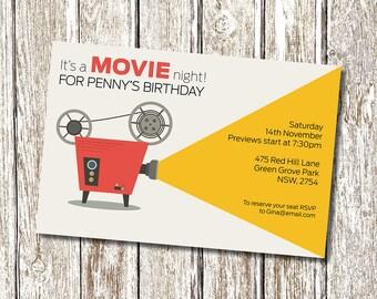 Movie Night Birthday Invitation - Printable and Personalised