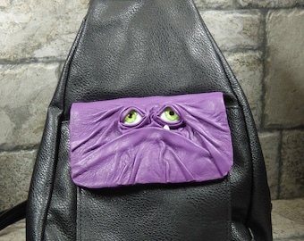 Leather Backpack Purse With Face Monster  Goth Purple Black 386