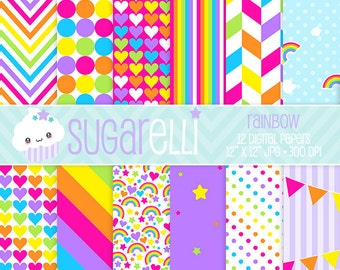 Rainbow Digital Paper Pack Bright Colors 12 Scrapbook Papers Kawaii Stripes Chevron Polka Dots Instant Download Commercial Use