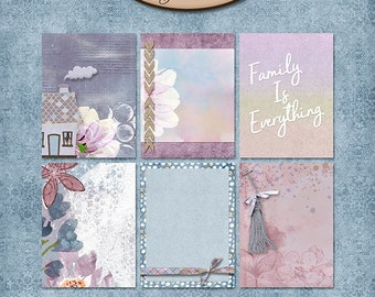 Digital Scrapbook, 3x4 Journaling and Decorative Cards: Memories Of Home