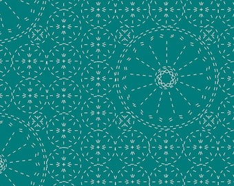 Sashiko Florette-Teal, Wild Bloom by BariJ for Art Gallery Fabric