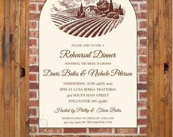 Rehearsal Dinner invitation - Tuscan Italian countryside - Italian rehearsal dinner invitation - Item 0245_2