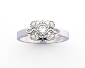 14K White Gold Petite Diamond Ring Old World Design