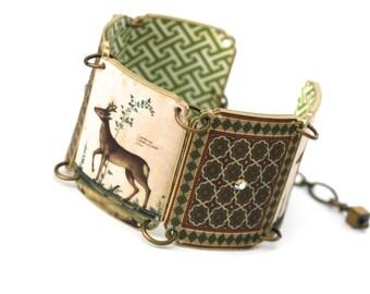 Woodland Deer Bracelet Deer Chain Link Bracelet Shrink Plastic Fawn Bracelet Deer Jewelry Springtime Jewelry Deer Cuff Bracelet