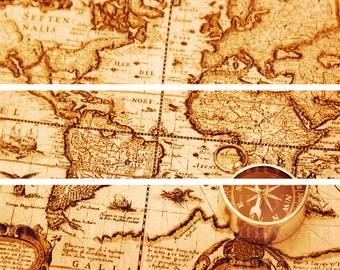 Old World Map Edible Birthday Cake Topper Side Strips Baking Supplies Jenuine Crafts