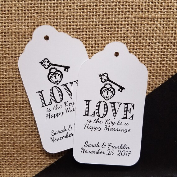 Love is the Key to a Happy Marriage favor tag LARGE Tags Personalize with names and date Choose your Quantity