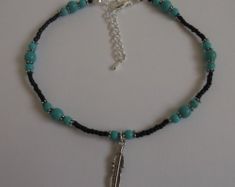 Feather anklet, stretch anklet, turquoise anklet, gemstone anklet, beaded anklet, feather jewellery, beach anklet, boho anklet, black anklet