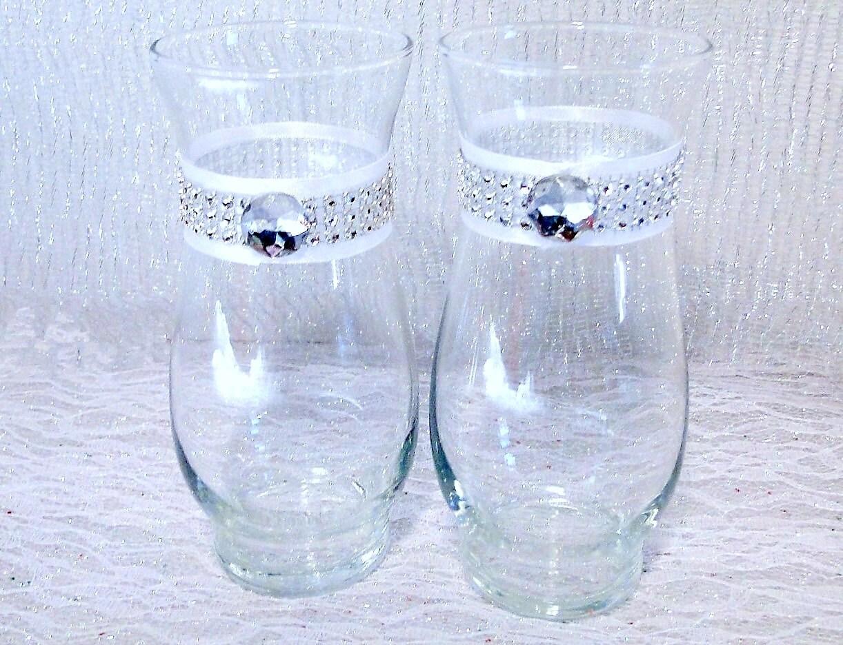 Rhinestone vase set of 2 white or ivory glass vase party zoom floridaeventfo Image collections