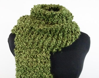 Chunky Hand Knit Scarf- Thick Warm Vegan Scarf of Moss Green Bouclé Acrylic Yarn - Item 1364