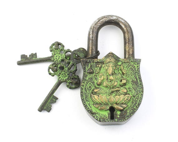 BIG Temple Lock & Key Set, Solid Brass, Antique, Alter Ornament, Vintage Lock, Ganesh,  Hindu Artifact, Home Decor,  Hardware Accessories