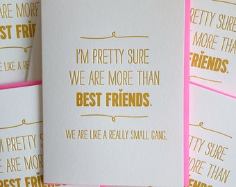 Best Friend Card - Best Friend Birthday Card - We are like a really small gang. funny card for friend. DeLuce Design