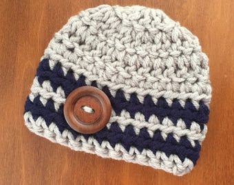 Newborn Boy Hat Newborn Boy Photo Outfit Crochet Hat Baby Boy Clothes Baby Boy Coming Home Outfit Baby Boy Hat 0-3 Month Gray Navy Blue Hat
