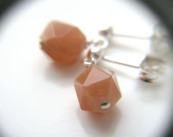 Peach Moonstone Earrings Studs . Pink Moonstone Jewelry . Healing Stone for Empowerment Jewelry . Peach Earrings