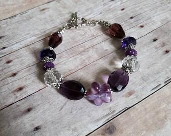 Glass beaded bracelet | purple bracelet | wedding jewelry | bridesmaid gift | victorian jewelry | gifts for her | flower bracelet