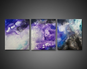 Abstract Canvas Art - painting on canvas, 3 piece wall art, ORIGINAL ART, purple wall art, modern painting, abstract acrylic art, galaxy art