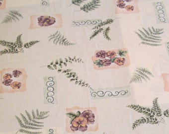 Floral Tablecloth Kitchen Table Cloth Vintage Rectangle Ferns Pansy Violet Flowers Green Purple Peach
