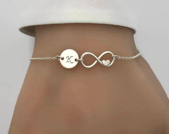Sterling Silver Personalised Infinity Love Bracelet - Personalized Bracelet, Infinity Bracelet