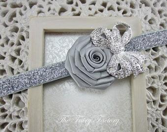 Flower Headband, Silvery Gray Satin Rose w/ Rhinestone Bow Stretchy Silver Glitter Headband - Baby Toddler Child Girls Headband