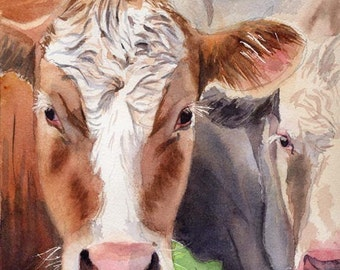 Hereford cow art Print of my watercolor painting farm large huge big hand painted