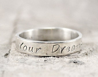 Sterling Silver Ring. Custom Ring. Personalized Ring. Engraved Ring. Names Ring. Hand Stamped Ring. Birthday Gift Mothers Day Gift For Her