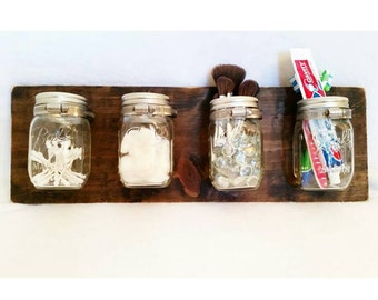 Mason Jar Organizer - Bathroom Organizer - Anything Organizer - Rustic - Wall Hanging - Mason Jar - Wall Decor