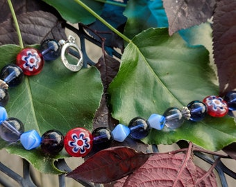 Red White Blue Millefiore beads, purple blue glass beaded bracelet. silver accents. Benefits rescue animals