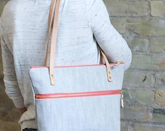 Linen double zipper purse