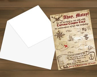 Custom Pirate Birthday Invites available as a digital file or printed for you, treasure map, pirates, birthday, personalized invitations