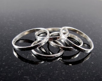 Hammered Sterling Silver Stacking Band Ring