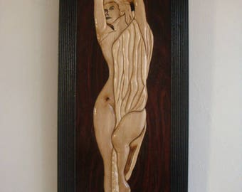 FEMALE body intarsia natural wood