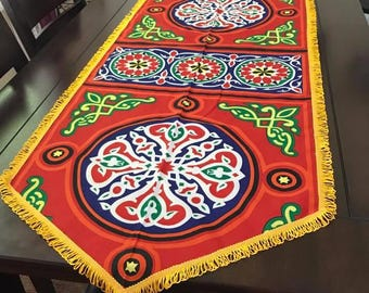Ramadan-Eid Table Runner cloth-Khaymah, Handmade Traditional Egyptian Tablecloth, Red