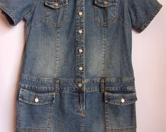 ON SALE!!!Vintage Women's Dress/John Baner JEANSWEAR/ Denim Shirt  Dress/Summer Dress/ Short Sleeve/Button Up/ Pockets/Size M- L