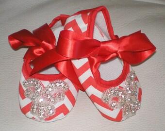 Chevron Baby Shoes, Rhinestone Chevron Baby Shoes, Christmas Crib Shoes, Bling Baby Shoes