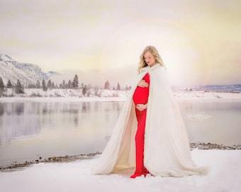Maternity Cape for Photos Shoot White Cape Long Cloak Fur Cape Hooded Cape Winter Wedding Cloak Bridal Cape Christmas Wedding White Wedding