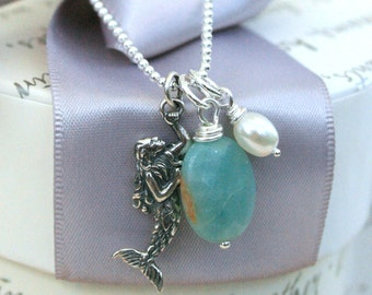 Sterling Mermaid necklace with Pearl and Amazonite charms