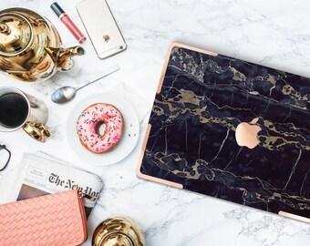 Macbook Pro 13 Case . Black Bronze Marble . Macbook Air Case . Laptop Case . Macbook Case . Rose Gold Chrome Accents- Platinum Edition