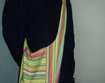 Bag shoulder or tote bag for all cotton striped multicolored pattern ethnic unique
