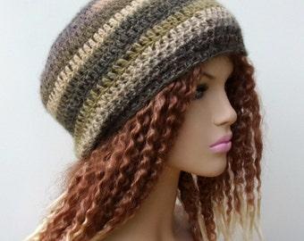 Woman hat, winter hat, lightweight women beanie, Olive Medley neutral slightly slouchy beanie, small Tam Slouchy Beanie beret hat wool blend