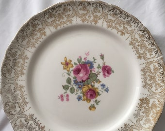 Vintage set of four The Hallmark Canonsbrg 22kt gold plated plates