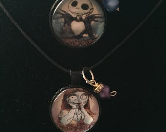 2 Jack blue and Sally Purple Handmade Necklace with charm