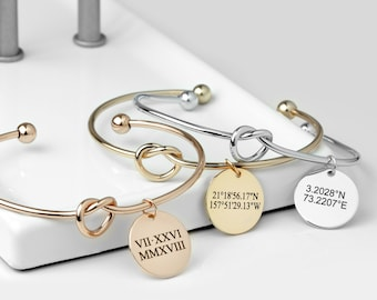 Personalized Coordinate Bracelet Gift For Her Graduation Gift for Women Roman Numeral Bracelet For Women Handwriting Jewelry - KBR-LC-D-RN