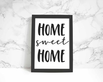 Home Sweet Home print, wall art, quote