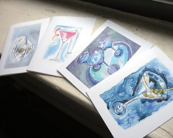 Martini Notecards Set, Cocktail Watercolor Art Note Cards, Set of 4