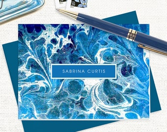 personalized stationery set - vintage marble paper SABRINA BLUE - set of 8 folded note cards - custom stationary - blue stationery