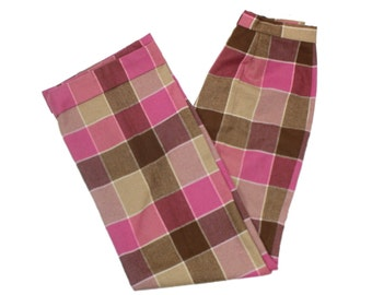 plaid wool pants • back to school clothes vintage 1970s slacks • retro pink, brown flared high waisted pants • cuffed boot cut • Fred Tardif